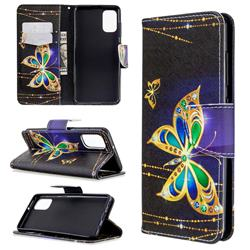Golden Shining Butterfly Leather Wallet Case for Samsung Galaxy A41