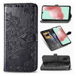 Embossing Imprint Mandala Flower Leather Wallet Case for Samsung Galaxy A41 - Black