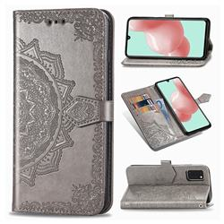 Embossing Imprint Mandala Flower Leather Wallet Case for Samsung Galaxy A41 - Gray