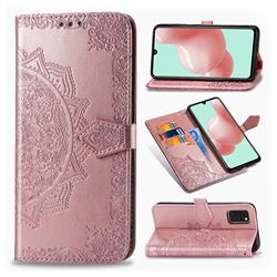 Embossing Imprint Mandala Flower Leather Wallet Case for Samsung Galaxy A41 - Rose Gold