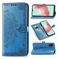 Embossing Imprint Mandala Flower Leather Wallet Case for Samsung Galaxy A41 - Blue