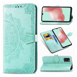 Embossing Imprint Mandala Flower Leather Wallet Case for Samsung Galaxy A41 - Green
