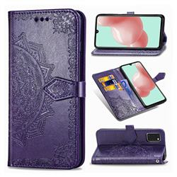 Embossing Imprint Mandala Flower Leather Wallet Case for Samsung Galaxy A41 - Purple