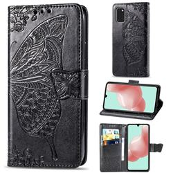 Embossing Mandala Flower Butterfly Leather Wallet Case for Samsung Galaxy A41 - Black