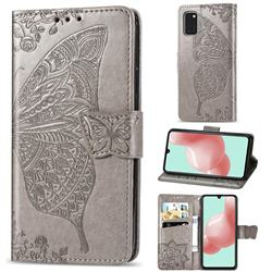 Embossing Mandala Flower Butterfly Leather Wallet Case for Samsung Galaxy A41 - Gray