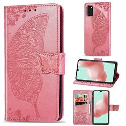 Embossing Mandala Flower Butterfly Leather Wallet Case for Samsung Galaxy A41 - Pink