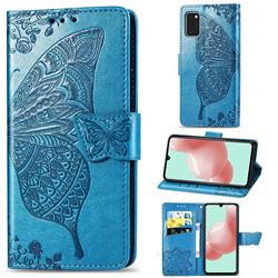 Embossing Mandala Flower Butterfly Leather Wallet Case for Samsung Galaxy A41 - Blue