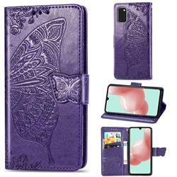 Embossing Mandala Flower Butterfly Leather Wallet Case for Samsung Galaxy A41 - Dark Purple