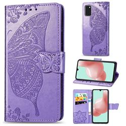 Embossing Mandala Flower Butterfly Leather Wallet Case for Samsung Galaxy A41 - Light Purple