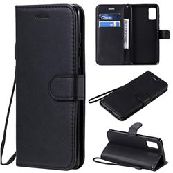 Retro Greek Classic Smooth PU Leather Wallet Phone Case for Samsung Galaxy A41 - Black