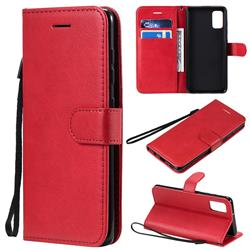 Retro Greek Classic Smooth PU Leather Wallet Phone Case for Samsung Galaxy A41 - Red