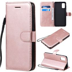 Retro Greek Classic Smooth PU Leather Wallet Phone Case for Samsung Galaxy A41 - Rose Gold