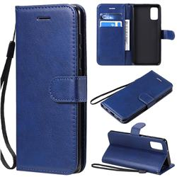 Retro Greek Classic Smooth PU Leather Wallet Phone Case for Samsung Galaxy A41 - Blue