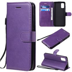 Retro Greek Classic Smooth PU Leather Wallet Phone Case for Samsung Galaxy A41 - Purple
