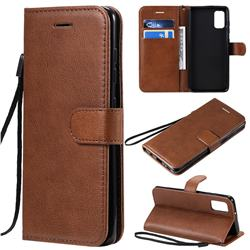 Retro Greek Classic Smooth PU Leather Wallet Phone Case for Samsung Galaxy A41 - Brown