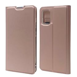 Ultra Slim Card Magnetic Automatic Suction Leather Wallet Case for Samsung Galaxy A41 - Rose Gold