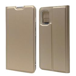 Ultra Slim Card Magnetic Automatic Suction Leather Wallet Case for Samsung Galaxy A41 - Champagne
