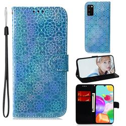 Laser Circle Shining Leather Wallet Phone Case for Samsung Galaxy A41 - Blue