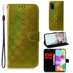 Laser Circle Shining Leather Wallet Phone Case for Samsung Galaxy A41 - Golden