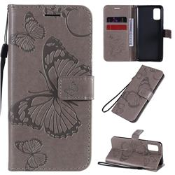 Embossing 3D Butterfly Leather Wallet Case for Samsung Galaxy A41 - Gray