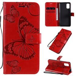 Embossing 3D Butterfly Leather Wallet Case for Samsung Galaxy A41 - Red