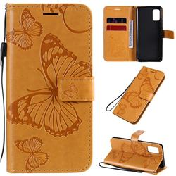 Embossing 3D Butterfly Leather Wallet Case for Samsung Galaxy A41 - Yellow