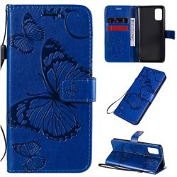 Embossing 3D Butterfly Leather Wallet Case for Samsung Galaxy A41 - Blue