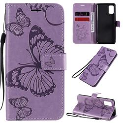 Embossing 3D Butterfly Leather Wallet Case for Samsung Galaxy A41 - Purple