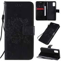 Embossing Butterfly Tree Leather Wallet Case for Samsung Galaxy A41 - Black