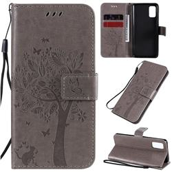Embossing Butterfly Tree Leather Wallet Case for Samsung Galaxy A41 - Grey