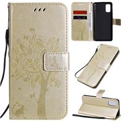 Embossing Butterfly Tree Leather Wallet Case for Samsung Galaxy A41 - Champagne