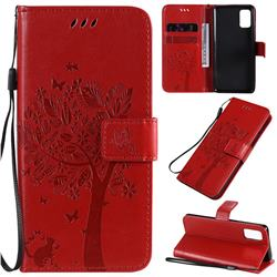 Embossing Butterfly Tree Leather Wallet Case for Samsung Galaxy A41 - Red