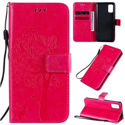Embossing Butterfly Tree Leather Wallet Case for Samsung Galaxy A41 - Rose
