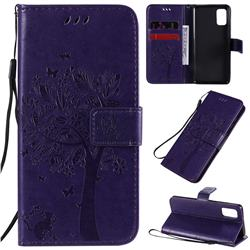 Embossing Butterfly Tree Leather Wallet Case for Samsung Galaxy A41 - Purple