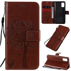 Embossing Butterfly Tree Leather Wallet Case for Samsung Galaxy A41 - Coffee