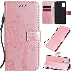 Embossing Butterfly Tree Leather Wallet Case for Samsung Galaxy A41 - Rose Pink
