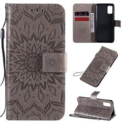 Embossing Sunflower Leather Wallet Case for Samsung Galaxy A41 - Gray