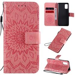 Embossing Sunflower Leather Wallet Case for Samsung Galaxy A41 - Pink