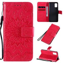 Embossing Sunflower Leather Wallet Case for Samsung Galaxy A41 - Red