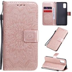 Embossing Sunflower Leather Wallet Case for Samsung Galaxy A41 - Rose Gold