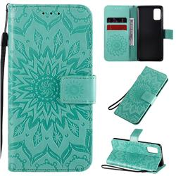 Embossing Sunflower Leather Wallet Case for Samsung Galaxy A41 - Green