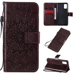 Embossing Sunflower Leather Wallet Case for Samsung Galaxy A41 - Brown