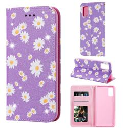 Ultra Slim Daisy Sparkle Glitter Powder Magnetic Leather Wallet Case for Samsung Galaxy A41 - Purple