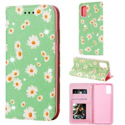 Ultra Slim Daisy Sparkle Glitter Powder Magnetic Leather Wallet Case for Samsung Galaxy A41 - Green