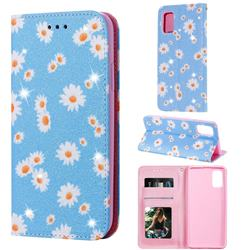 Ultra Slim Daisy Sparkle Glitter Powder Magnetic Leather Wallet Case for Samsung Galaxy A41 - Blue