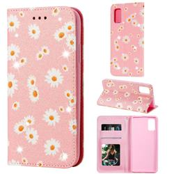 Ultra Slim Daisy Sparkle Glitter Powder Magnetic Leather Wallet Case for Samsung Galaxy A41 - Pink