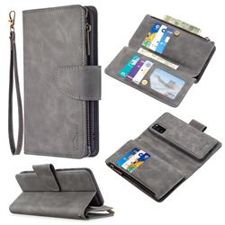 Binfen Color BF02 Sensory Buckle Zipper Multifunction Leather Phone Wallet for Samsung Galaxy A41 - Gray