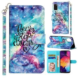 Blue Starry Sky 3D Leather Phone Holster Wallet Case for Samsung Galaxy A41