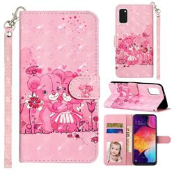 Pink Bear 3D Leather Phone Holster Wallet Case for Samsung Galaxy A41