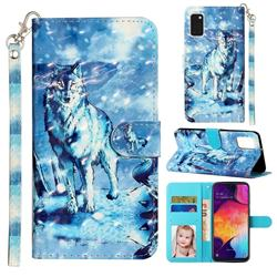 Snow Wolf 3D Leather Phone Holster Wallet Case for Samsung Galaxy A41